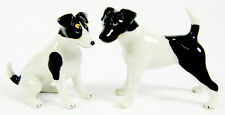 Miniature Porcelain Fox Terrier Dog Set/2 Sit & Stand Figurine