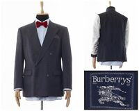 Mens BURBERRYS Blazer Coat Jacket Double Breasted Wool Checked Grey Size 40 50