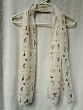 BEAUTIFUL IVORY/GOLD SCARF W/MUSICAL INSTRUMENTS I LOVE MUSIC