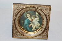 Vintage Mother Mary Infant Jesus Religious Christianity Wall Plaque Gilded Wood