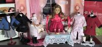 AMERICAN GIRL DOLL REBECCA RUBIN, 5 OUTFITS, FAINTING COUCH, PETS AND MORE!