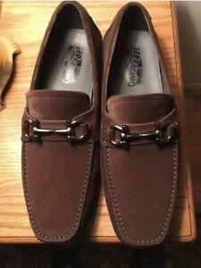 New Salvatore Ferragamo Parigi Brown Suede Men Driver Mocassin Shoes 9  $695