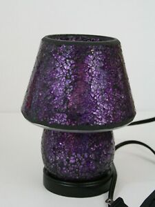 Valerie Parr Hill Purple & Pink Mosaic Glass Electric Accent Table Lamp w/Shade