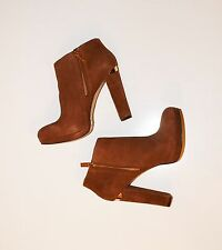 NEW!! Michael Kors Platform Heels Ankle Boots - Brown Suede Leather - Size 10.5