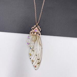 Fairy Gold Pendant Resin Yellow Butterfly Wing Necklace Thanksgiving Jewelry