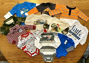 LOT OF 11 Baby/Infant Boy Clothes Size 0-3 Months One-Piece Wrangler, Gerber-B