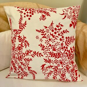 """Handmade 16""""/18"""" SHABBY CHIC RED FLORAL Cushion Pillow Cover. From Australia"""