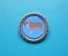 Handmade Bulldog Brooch Bottle Cap Badge Dog Puppy Silver British English Blue