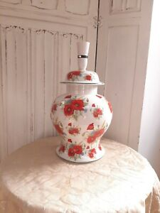 Large vintage ceramic ginger jar table lamp, poppies cornflowers floral design,