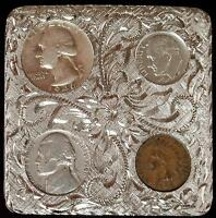 Western Belt Buckle 1946 90% Silver Coins & Indian Penny
