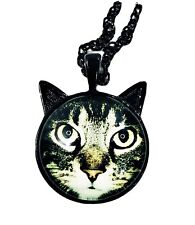 New Cat Kitten With Ears Pendant Necklace Big Eyes Photo Tiger Black Tone Chain