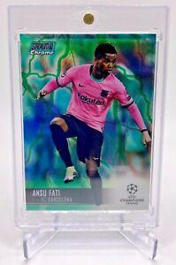 2020-21 Ansu Fati Topps Chrome Green Refractor FC Barcelona Soccer Card 17/150