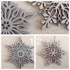 """FOUR """"Frozen"""" Inspired Timber Snowflakes  SILVER  Quick Delivery"""