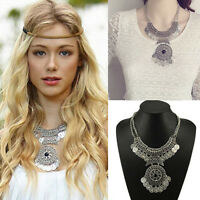 Bohemian Festival Jewelry Fashion Women Double Chain Coin Statement Necklace EF