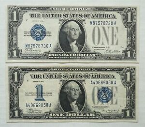 Lot of 2 - 1928 A & 1934 - Silver Certificates - $1 - Blue Seal - Funny Back