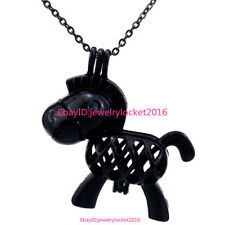 """-H66 Black Donkey Pearl Beads Cage Locket Pendant 18"""" Stainless Steel Necklace"""