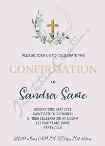 DIY Print Custom GIRLS BOYS CONFIRMATION RELIGIOUS PINK Party Invitation