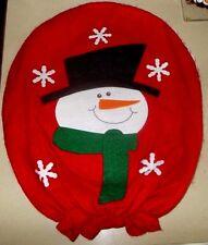 SNOWMAN TOILET SEAT COVER * RED FELT * SNOWMAN w/ SCARF & HAT * SNOWFLAKES