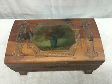Vtg Cedar Wood Hope Treasure Jewelry Box Stash Lithograph Vase with Flowers