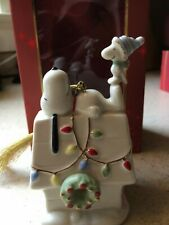 """Lenox Peanuts Snoopy """"Home For the Holidays"""" doghouse - fine china ornament"""