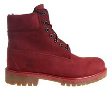 """Timberland Men's Premium 6"""" Inch Waterproof Leather Burgundy boots Size 9.5 M"""