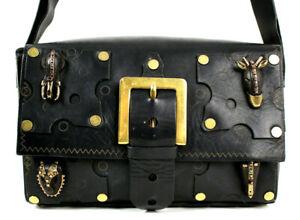 VALENTINO $3,595 Runway Black Leather Rockstud TRIBAL MASK Crossbody Bag