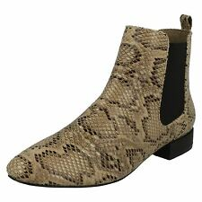 Ladies Spot on Ankle BOOTS Available in 5 Colours Style - F50558 Beige Snake UK 6