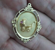 14K GOLD BABY CARRIAGE CHARM PENDANT IN 3D AND NICE RUBY STONE VINTAGE 1973.