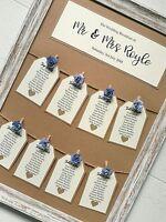 Framed vintage rose peg and tag design wedding table plan / seating plan a3