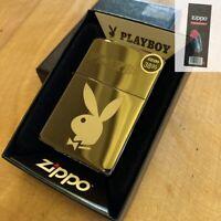 Zippo 29778 Playboy Bunny Logo Black ICE Windproof Engraved Lighter + FLINT PACK