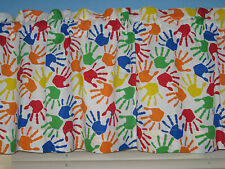 COLORFUL HAND PRINT  Handmade  Cotton Back To School Window Curtain Valance