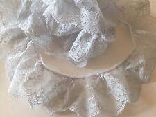 Gerüschte tul punta, cinta, decoración, cenefa, gris claro, 55mm, LFM