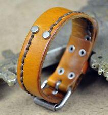 Handmade Men's Surfer Single Band Lined Leather Wristband Bracelet Cuff KHAKI