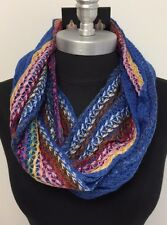 Women Winter knitted Crochet 2-Circle Cowl Infinity Scarf Wrap Blue/Multi-Color