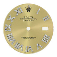 Diamond Roman Numeral Dial for Rolex Datejust Champagne 36mm Real Diamonds Steel