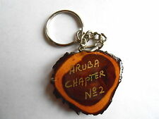 Vintage OES Order of the Eastern Star Aruba Chapter 2 Tree Log Slice lKeychain