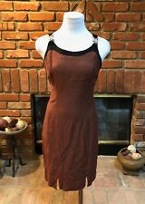 Vtg 90s Retro Mod Sm 5/6 Brown Black Link Accent Sheath Front Center Slit Dress