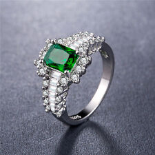 925 Silver Jewelry Elegant Princess Cut Emerald Women Wedding Ring Size 8