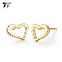 TT Stainless Steel Heart Stud Earrings (EC105) NEW