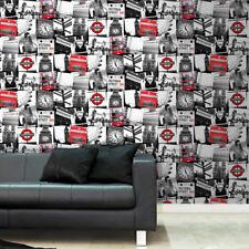 Fresco London Underground London Bridge Montage Black /Red Wallpaper