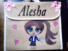 GIRLS PERSONALISED School BOOK BAGS ANY NAME ANY UNIFORM / STYLE GIFT FOR ALL