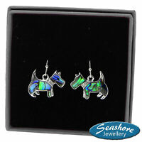 Scottie Dog Earrings Paua Abalone Shell Womens Silver Fashion Jewellery 25mm