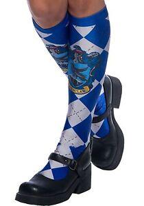 Harry Potter Hogwarts House Ravenclaw Blue Argyle Knee High Socks Women's