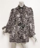 DOLCE & GABBANA Black White Floral Lace Print SILK Bow Blouse Top 6-42