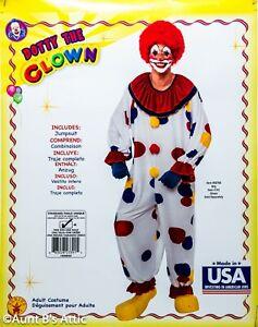 Clown Costume Adult Multi Color Polka Dot Jumpsuit W/ Attached Collar XL-XXL