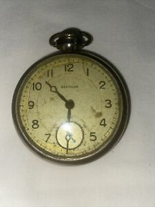 Vintage Made in USA Westclox Pocket Watch Works But Don't Keep Time