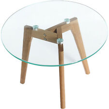 Charles Jacobs Round Glass Coffee Side Table Solid Oak Wood Leg 60cm Diameter