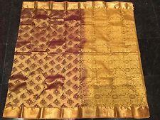Kanchipuram Indian Silk Saree Bollywood Diwali Sari Chandan Terracotta Gold