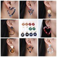 Women Hook Acrylic Geometric Pendant Dangle Drop Statement Earrings Jewelry