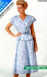 Cut Sewing Pattern Ladies Side Zip Skirt Front Button top Size 6-10 (cut to 10)